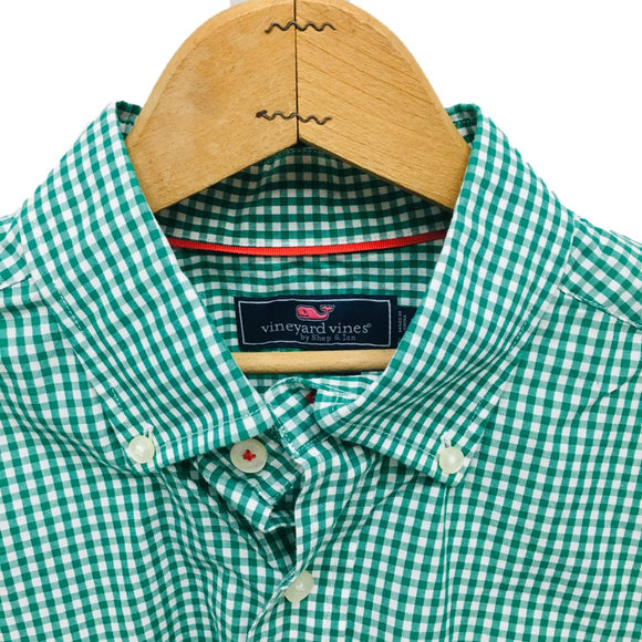 VINEYARD VINES - Men's Button-Down Oxford Shirt, Green Meadow Gingham Tucker Shirt Size Medium