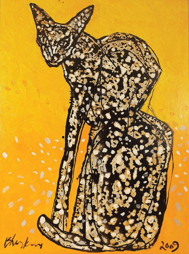 Cat|R.B. Bhaskaran- Mixed Media on Canvas, 2009, 49 x 36 inches