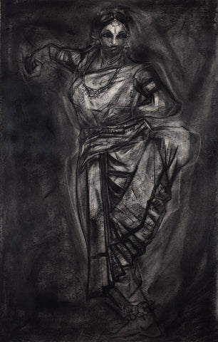 Performer 292|S. Mark Rathinaraj- Charcoal on Board, , 39 x 21.5 inches