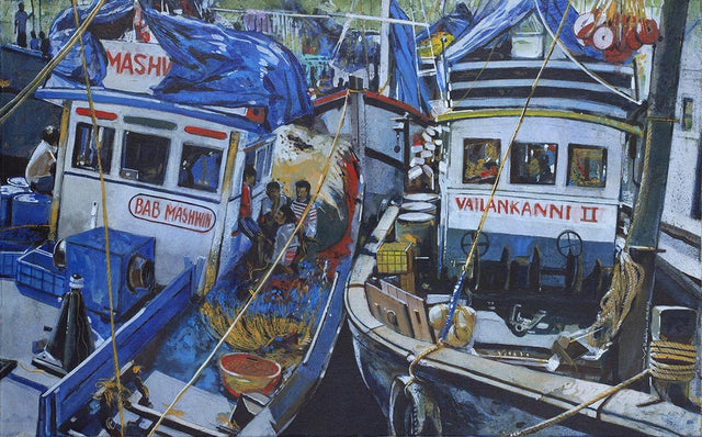 Fishing boats|Vallabh Govind Namshikar- Acrylic on canvas, 2012, 30 x 48 inches
