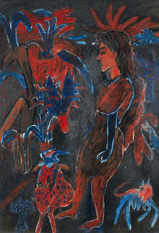 Untitled 14|K.G. Subramanyan- Watercolor and Pastel on Black Paper, 2008, 10.5 x 7 inches
