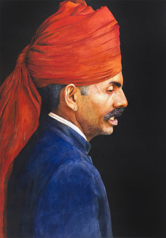 Red Turban|G. Navaneethakrishnan- Water Color on Handmade Paper, 2017, 29 x 21 inches
