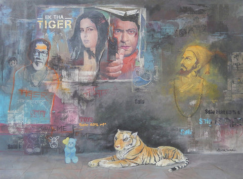 Ek Tha Tiger|Kishor Digambarrao Ingale- Mix Media on Canvas, 2014, 36 x 48 inches