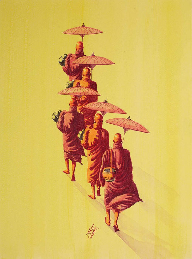 Monks in route 3|Moe- Water Color on Board, , 15 x 11 inches