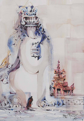Guardian|Kyaw thu win- Water Color on Board, 2013, 14.5 x 10.5 inches