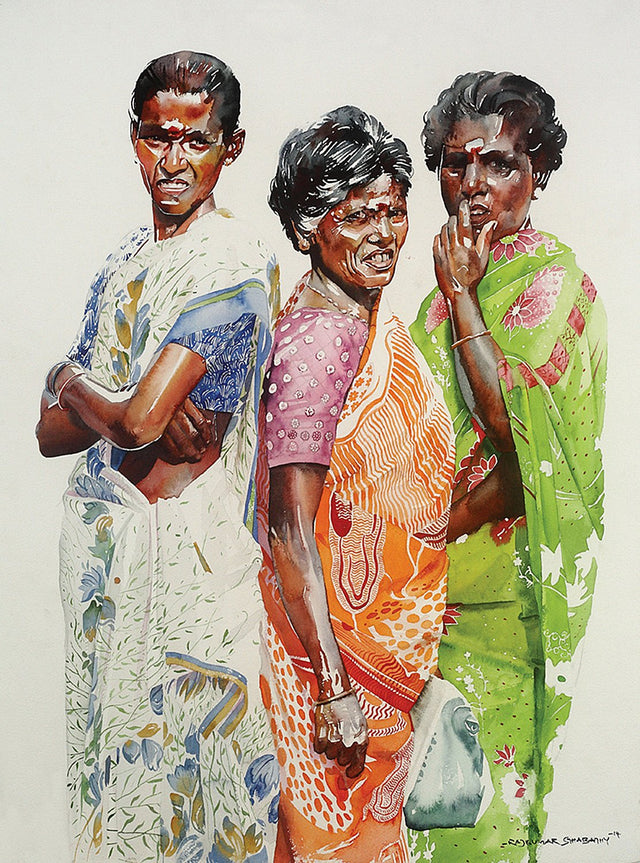 Mothers'|R. Rajkumar Sthabathy- Water Color on Paper, 2014, 30 x 22 inches