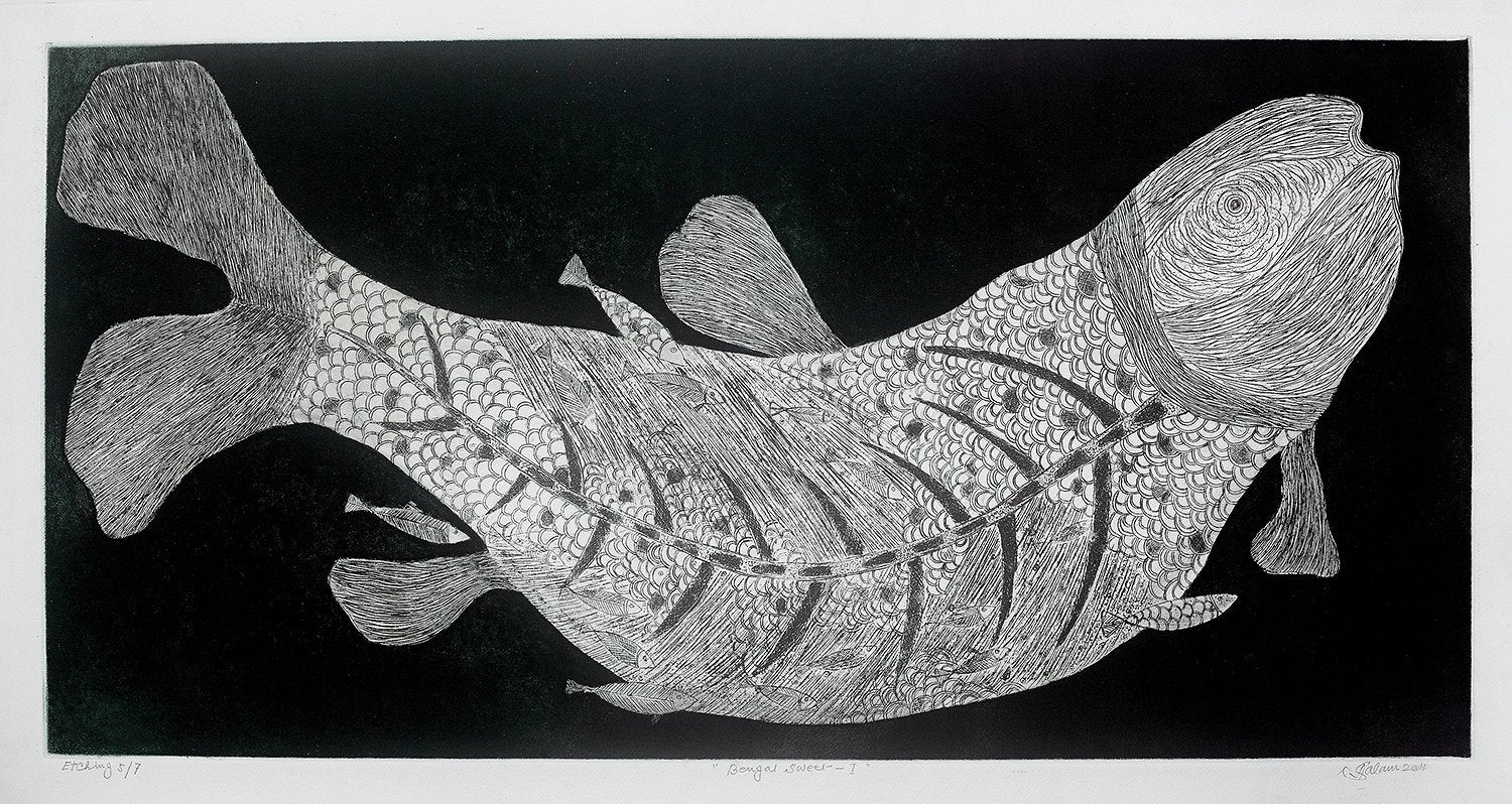 Fish: Edition 5/7|Abdul Salam- Etching, 2011, 20 x 40 inches