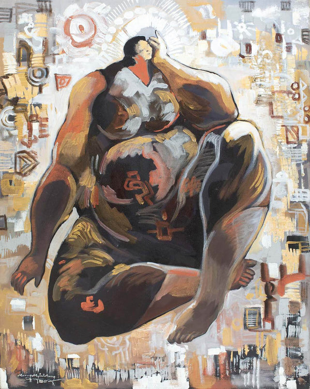 Female figure in brown|Maung Myint Aung- Acrylic on Canvas, 2011, 30 x 24 inches
