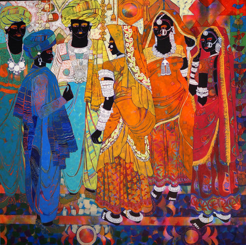 Ethnic Serendipity 25|Anuradha Thakur- Acrylic on Canvas, 2014, 48 x 48 inches