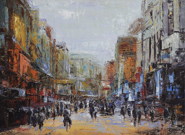 Busy Yangon street|Lu Yaung Saung- Oil on Canvas, 2014, 36 x 48 inches