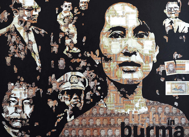 Aung Sun Suu Kyi|Zwe Yan Naing- Mixed media on canvas, 2014, 36 x 48 inches