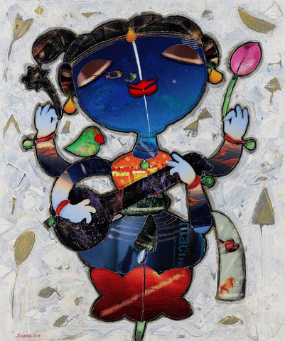 Saraswati|G. Subramanian- Mixed Media on Canvas, 2013, 32 x 27 inches