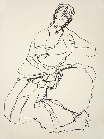 Performer 340|S. Mark Rathinaraj- Pen and Ink on Paper, , 21 x 11 inches