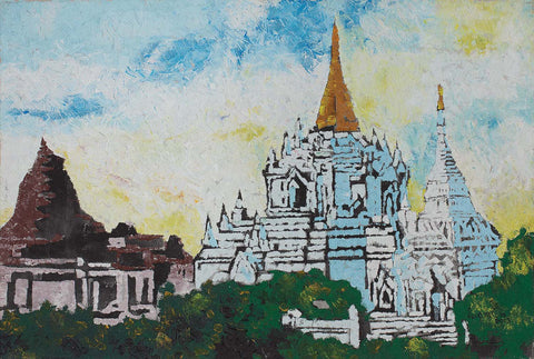 Temple|Zwe Mon- Acrylic on Canvas, 2013, 24 x 36 inches