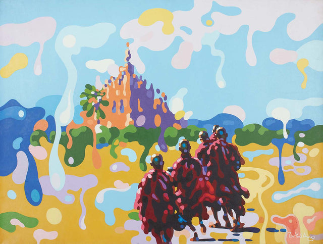 The walk|Zin Yaw Aung- Acrylic on Canvas, 2015, 36 x 48 inches