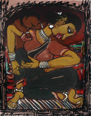 Mother and Child I|M. Suriyamoorthy- Mixed Media on Paper, 1971, 13.5 x 10.5 inches