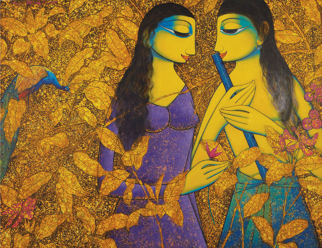 Radha Krishna 10|Prakash B. Deshmukh- Acrylic on Canvas, 2013, 35 x 46 inches