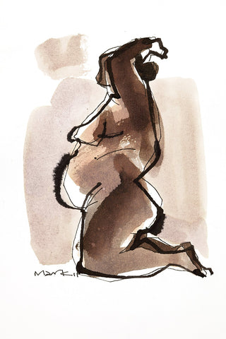 Nude 2|S. Mark Rathinaraj- Pen and Ink on Paper, , 8.5 x 5.5 inches
