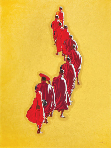Monks on the morning round|Min Wae Aung- Acrylic on Canvas, 2017, 51 x 37 inches