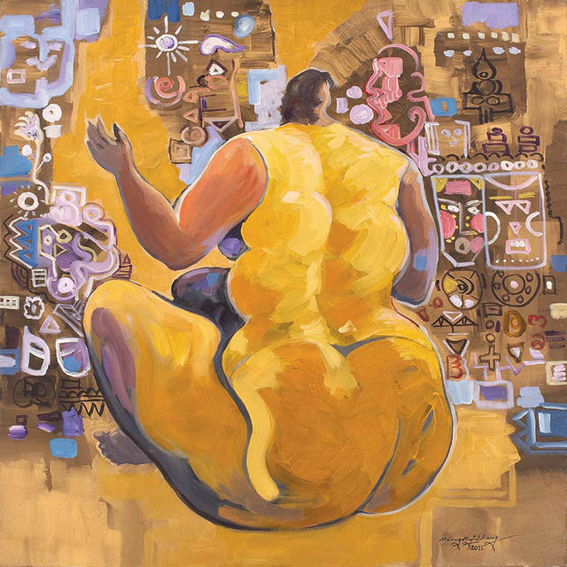 Female figure in yellow|Maung Myint Aung- Acrylic on Canvas, 2011, 30 x 30 inches