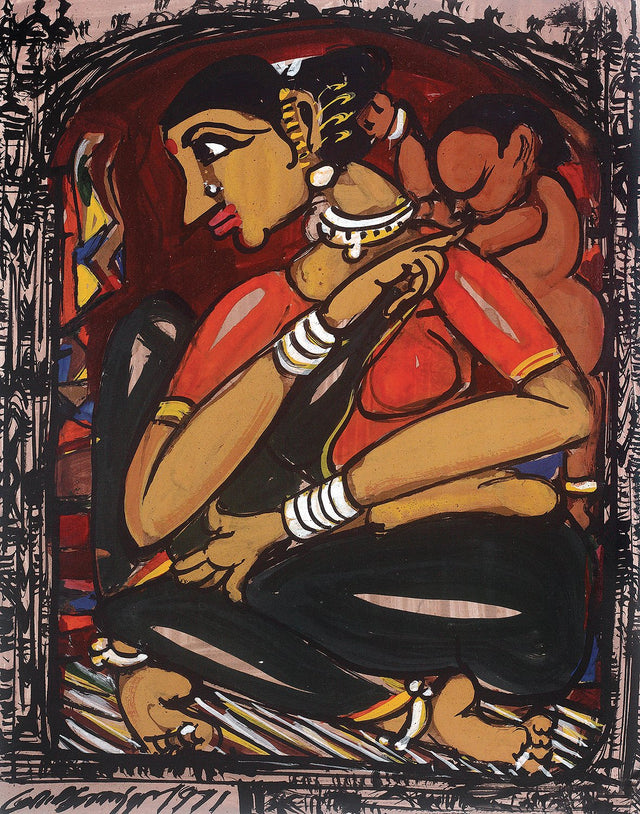Mother and Child II|M. Suriyamoorthy- Mixed Media on Paper, 1971, 13.5 x 10.5 inches