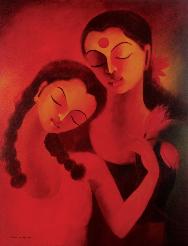 Mother and daughter bliss|Manisha Raju- Acrylic on Canvas, 2016, 36 x 27 inches