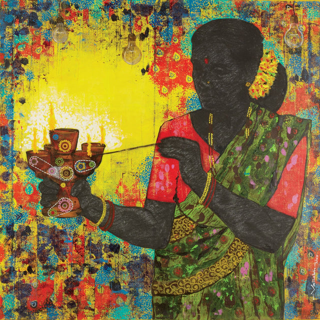 Lost culture 3|Vallabh Govind Namshikar- Mixed Media on Canvas, 2015, 36 x 36 inches