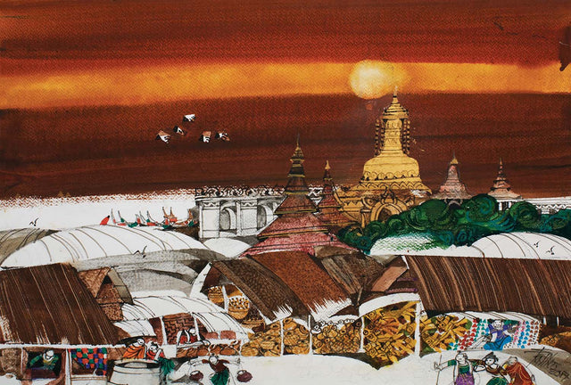 Reminiscence 2|U Sein Myint- Water Color on Board, 2017, 15 x 22 inches