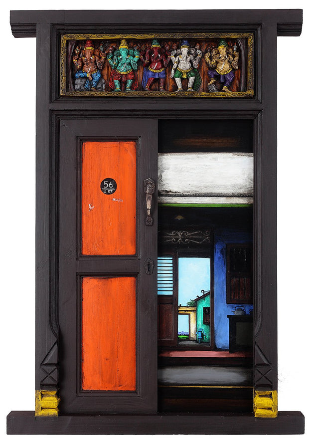 Door Series 18|K.R. Santhana Krishnan- Mixed Media on Wood, 2013, 39 x 27 inches