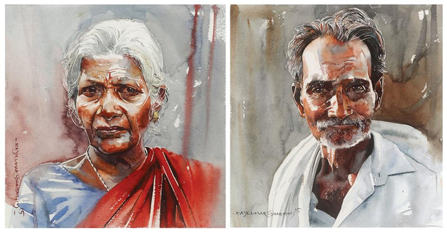 Face - Set of 2|R. Rajkumar Sthabathy- Water Color on Paper, 2015, 11 x 22 inches