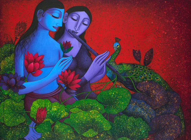 Radha Krishna 11|Prakash B. Deshmukh- Acrylic on Canvas, 2014, 36 x 48 inches