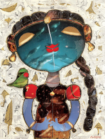 Girl with parrot I|G. Subramanian- Mixed Media on Canvas, 2015, 26 x 20 inches