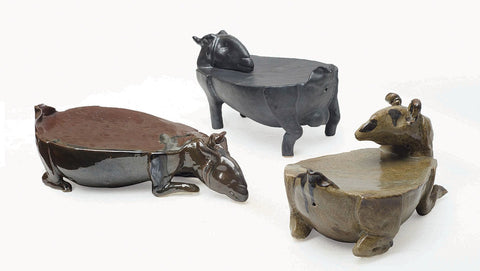 Gracing Goats (Set of 3)|Debasish Kulay- Ceramic, 2014, 4 x 6 x 8 inches