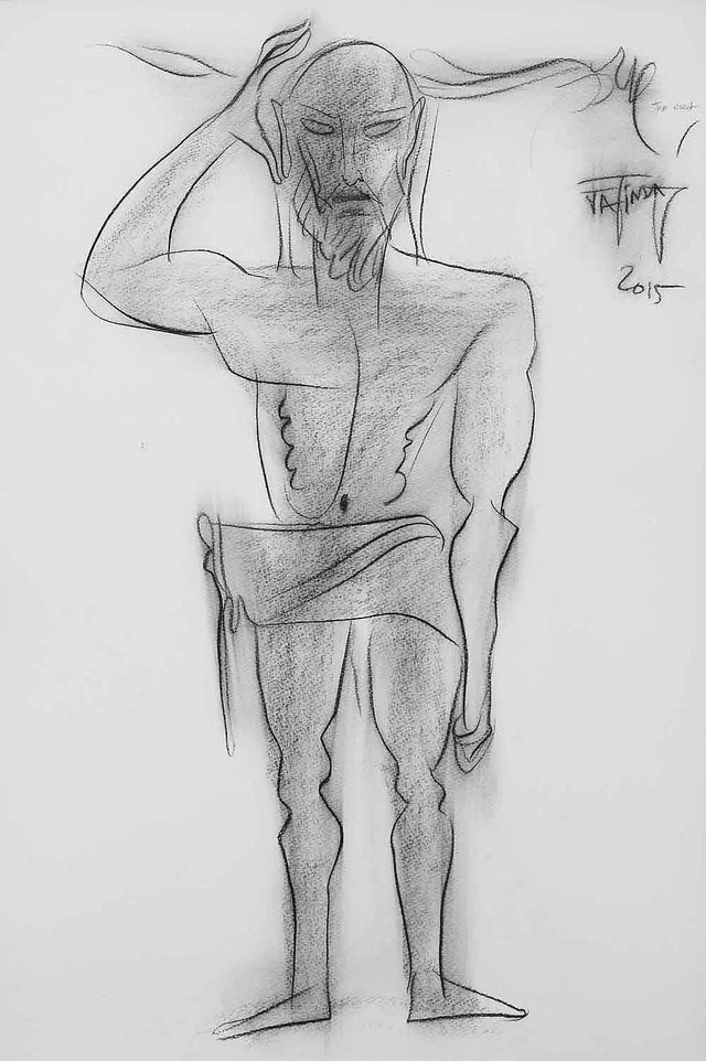 The Erect|Jatin Das- Conte on Paper, 2015, 21.5 x 15.5 inches