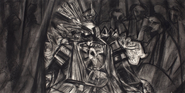 Performer 353|S. Mark Rathinaraj- Charcoal on Board, , 17.5 x 35.5 inches
