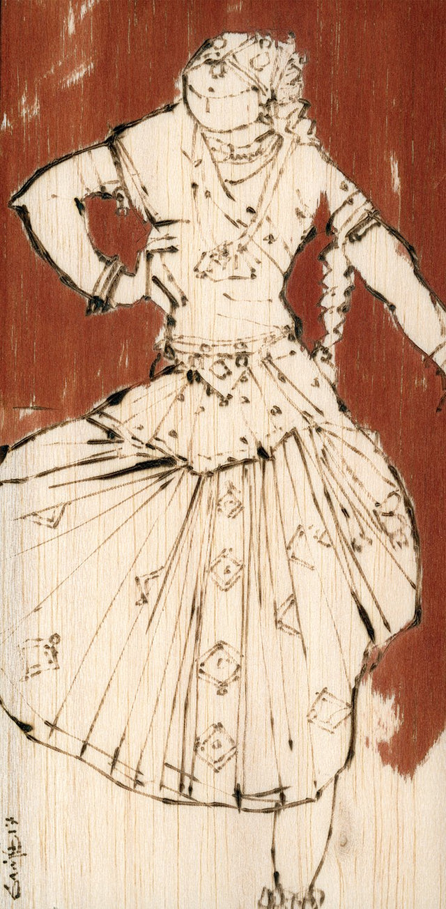Performer 171|S. Mark Rathinaraj- Pyrography on Balsa Wood, , 8 x 4 inches