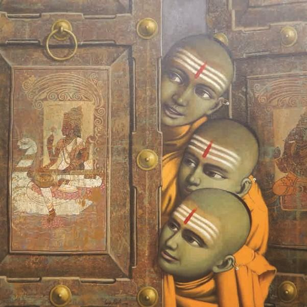 Kutuhal|Sanjay Raut- Acrylic on Canvas, 2015, 42 x 42 inches