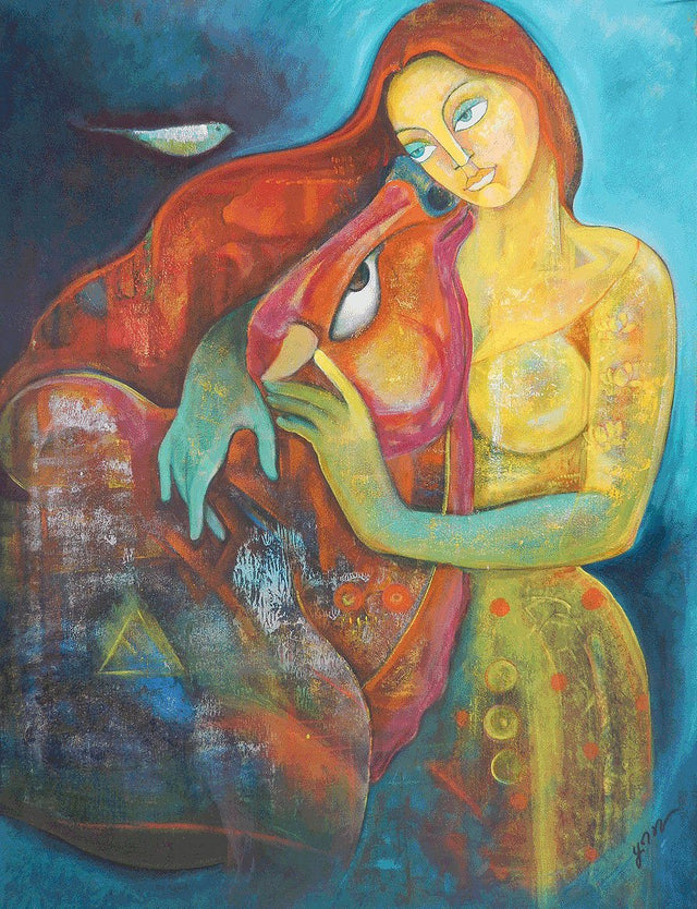 A Girl in Yellow|Poonam Chandrika Tyagi- Acrylic on Canvas, 2013, 40 x 30 inches
