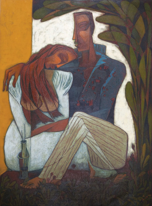 Lovers|L.N. Rana- Oil on Canvas, 2010, 44 x 32 inches