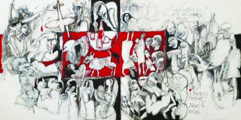 The Protest|Dhiraj Choudhury- Acrylic on Canvas, 2016, 48 x 96 inches