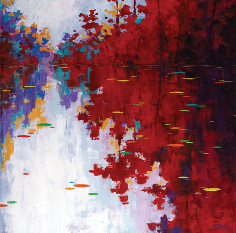 Speckled Waters|Remya Kumar- Acrylic on Canvas, 2014, 36 x 36  inches