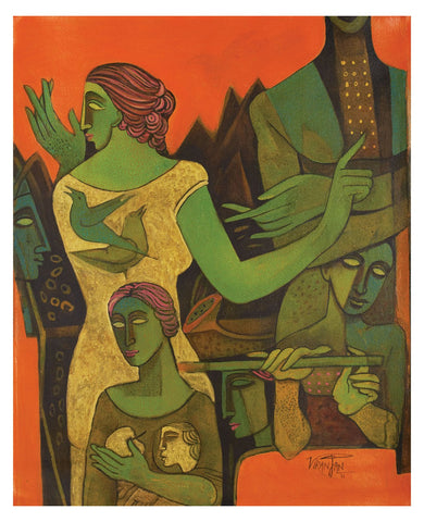 Journey through figure|Ram Viranjan- Acrylic on Canvas, 2011, 30 x 24 inches