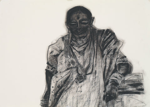 Performer 295|S. Mark Rathinaraj- Charcoal on Board, , 19.5 x 27.5 inches