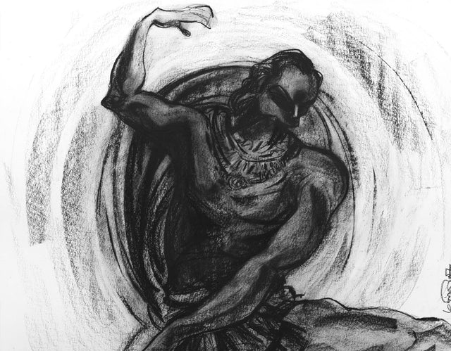 Performer 354|S. Mark Rathinaraj- Charcoal on Board, , 27.5 x 21.5 inches