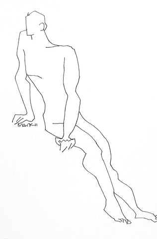 Nude 4|S. Mark Rathinaraj- Pen and Ink on Paper, , 8.5 x 5.5 inches