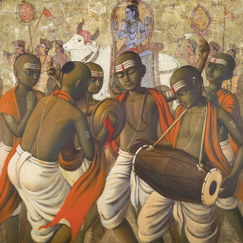 Bhajan|Sanjay Raut- Acrylic on Canvas, 2014, 42 x 42 inches