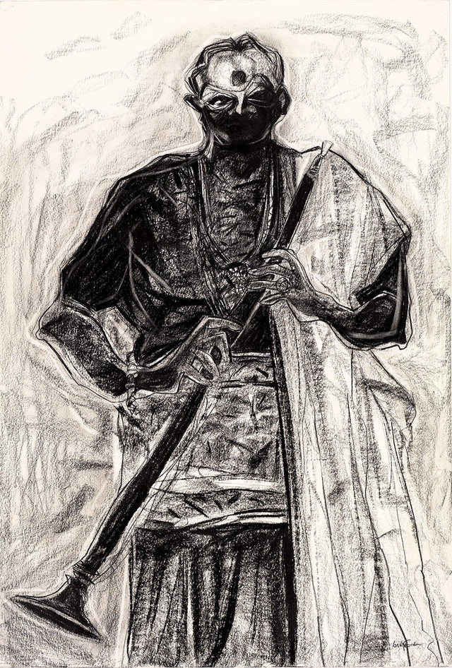 Performer 296|S. Mark Rathinaraj- Charcoal on Board, , 38.5 x 26 inches
