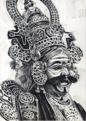 Performer 355|S. Mark Rathinaraj- Charcoal on Board, , 39 x 28 inches
