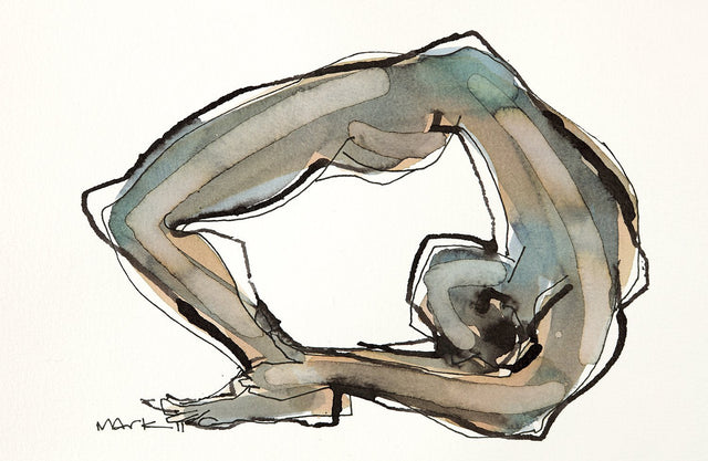 Yoga 44|S. Mark Rathinaraj- Pen and Ink on Paper, , 5.5 x 8.5 inches