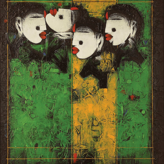 Four of them|Basuki Dasgupta- Mixed Media on Canvas, 2013, 36 x 36 inches